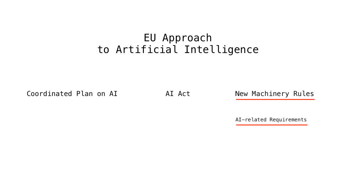 New Machinery Rules as part of EU approach to AI. AI-related requirements
